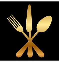 gold cutlery icon vector image vector image