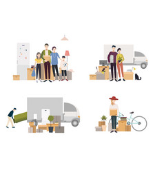 people moving into a new house with things set of vector image