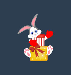 rabbit with gifts vector image vector image