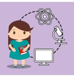School girl red book system laboratory physical vector