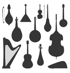 stringed dreamed musical instruments silhouette vector image vector image