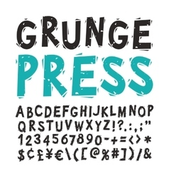 Vintage Press Font Black vector image