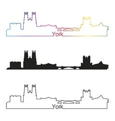 York skyline linear style with rainbow vector image vector image