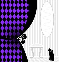 background fantasy black cat vector image