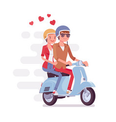couple in love on scooter vector image
