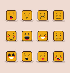 set cute flat design of cube character with vector image