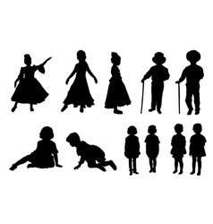 silhouettes of kids vector image
