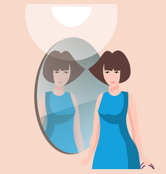 beautiful woman character with mirror vector image vector image