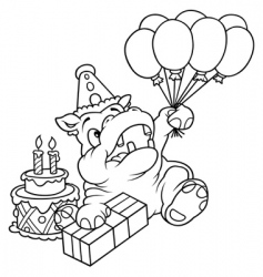 hippo and balloons vector image vector image