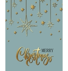 Merry xmas luxury background with golden stars vector
