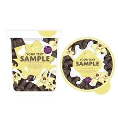 Vanilla chocolate Yogurt Packaging Design Template vector image vector image
