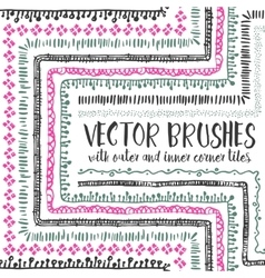 10 hand drawn decorative seamless pattern brushes vector image