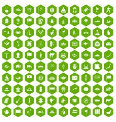 100 asia icons hexagon green vector