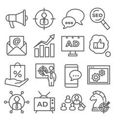 advertising line icons on white background vector image