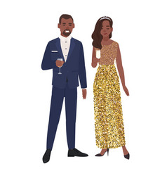 African american couple in posh elegant evening vector