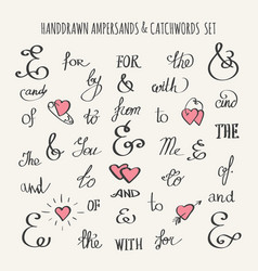 Ampersands and catchwords set vector