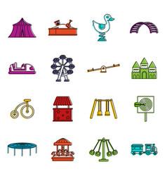 amusement park icons doodle set vector image
