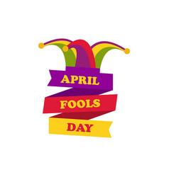 April fools day cap with bells jester hat vector