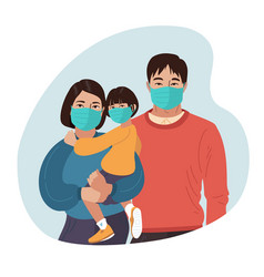 Asian mother father and daughter wear medical vector