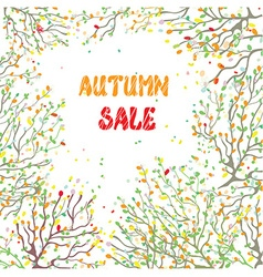 Autumn sale card with leaves and branches vector