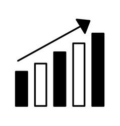 bar chart statistics arrow on white background vector image