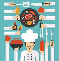 Barbecue and grill cook concept design flat set vector