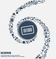 Barcode icon sign in the center Around the many vector image