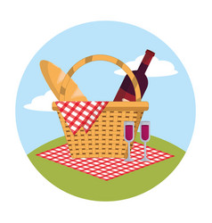 Baskte with wine and bread in the tablecloth vector