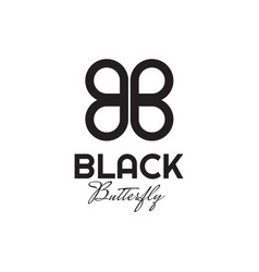 Bb letter logo forms a black butterfly design vector
