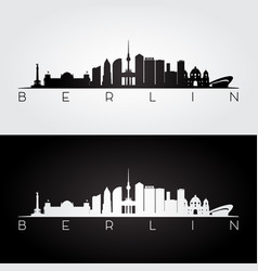 Berlin skyline and landmarks silhouette vector
