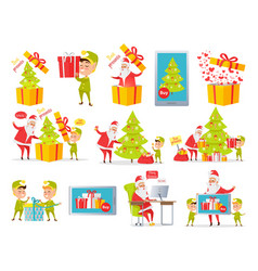 Best presents merry christmas set of pictures vector