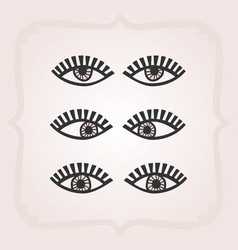 black abstract feminine open looking eyes set vector image