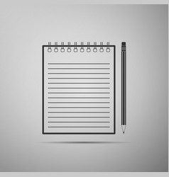 Blank notebook and pencil with eraser icon vector