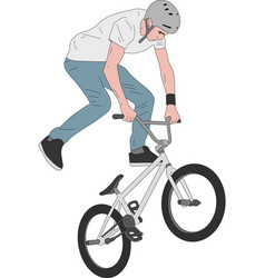 bmx stunt bicyclist vector image