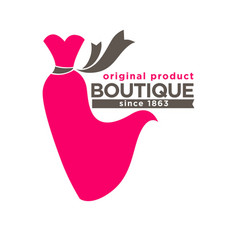 Boutique colorful logotype with red dress isolated vector