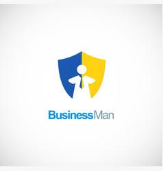 business man shield logo vector image