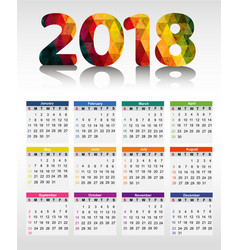 calendar 2018 vector image
