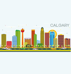 Calgary skyline with color buildings and blue sky vector