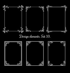 calligraphic floral frames vintage vector image vector image