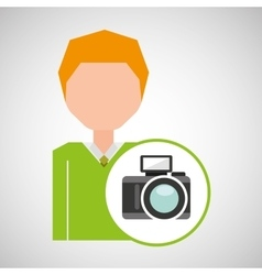 Cartoon business man photographic camera icon vector