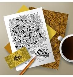 Cartoon cute doodles Africa corporate vector