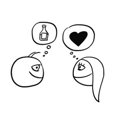 cartoon of man and woman thinking about drink vector image