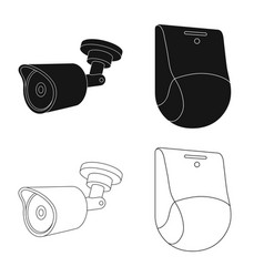 Cctv and camera icon set vector