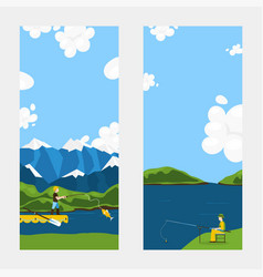 character male fishing rod mountain pier flat vector image