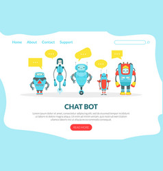 chat bot landing page template cute friendly vector image