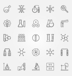 Chemistry icons set - chemical science line vector
