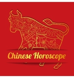 Chinese horoscope background with golden bull vector