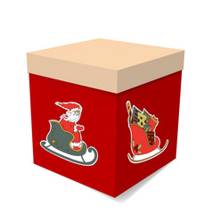 Christmas gift box the picture santas surprise vector