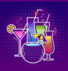 Cocktail party icon dark background vector