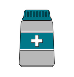 Color image cartoon bottle with pills and label vector